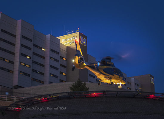 University of Michigan Hospital Survival Flight helicopter. © 2016 d2 Saline, All Rights Reserved. USA