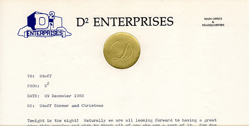 D2 Enterprises Christmas Party Travel Plan 1983 December 09